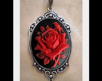 Gothic Red Rose Cameo Necklace