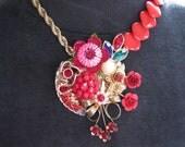 Statement Necklace, Reclaimed Vintage Necklace, Vintage Enamel Flower, Red, Reduced, BIG SALE - Ruby