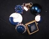 Vintage Earring Bracelet, Bridesmaid Gift, Navy Blue, Gold, Enamel, Rhinestone, Jennifer Jones, Volume Discount, OOAK,Under 40 - In the Navy