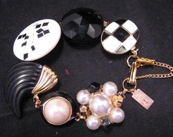 Reclaimed Vintage Bracelet, Bridesmaid Bracelet, Vintage Earring Bracelet, Cluster, Black, White, OOAK, Bridesmaid Gift - Checkmate