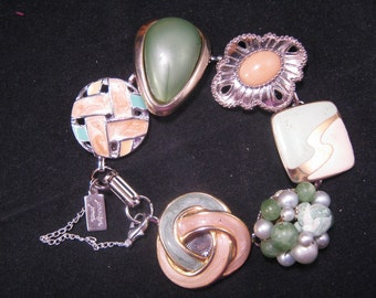 Reclaimed Charm Bracelet, Vintage Earring Bracelet, Bridesmaid Gift, Under 40, Gift Set, Upcycled, Green, Sage, Enamel, Mint  - Beach Grass
