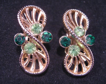 Reclaimed Vintage Earrings, Vintage Coro Earrings, Pre-1955 Coro, Clips, Rhinestone Earrings, recycled, Green, Under 25