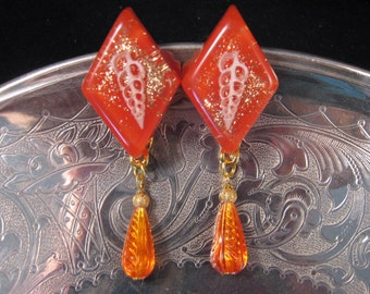 Reclaimed Vintage Earrings, Bridesmaid Gift, Statement Earrings, 1960s, Tangerine, Under 25, Whimsy - Tangerine at the Beach