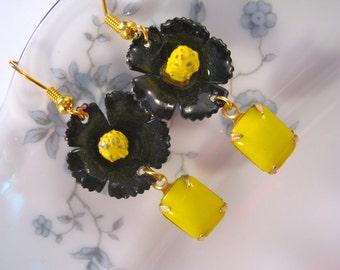 Reclaimed Vintage Earrings, Bridesmaid Gift, Statement Earrings, Vintage Black Enamel, Under 40 - Busy Bee