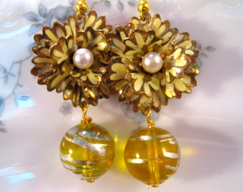 Reclaimed Vintage Earrings, Bridesmaid Gift, Statement Earrings, Vintage Enamel Flowers, Jennifer Jones, Yellow, Glass, Pierced - Ruffles