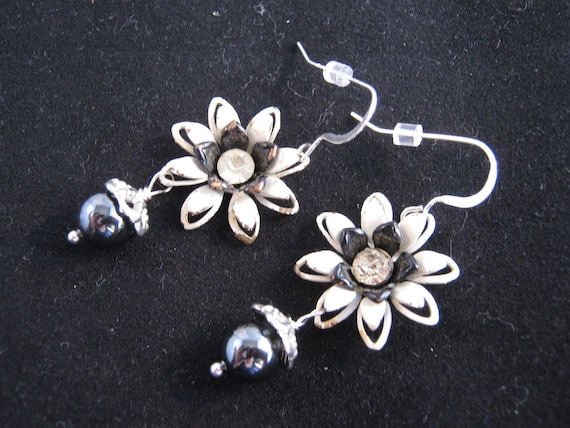 Reclaimed Vintage Earrings,  Enamel Earrings, Charm Earrings, Flower Power, Hematite Beads, Under 20 - Serenity
