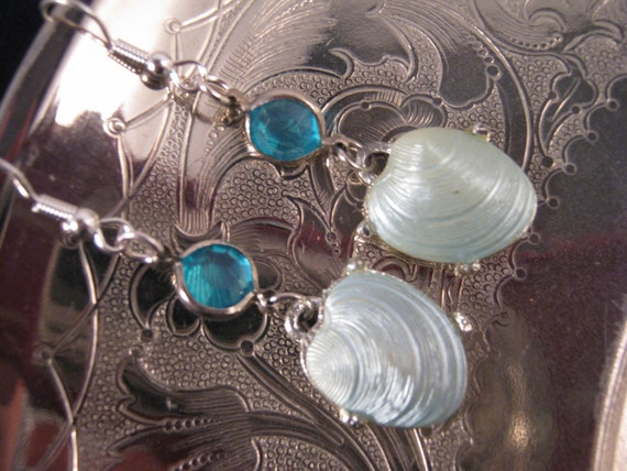 Reclaimed Vintage Earrings, Repurposed Vintage Glass and Seashell Earrings, Statement Assemblage - By the Beautiful Sea