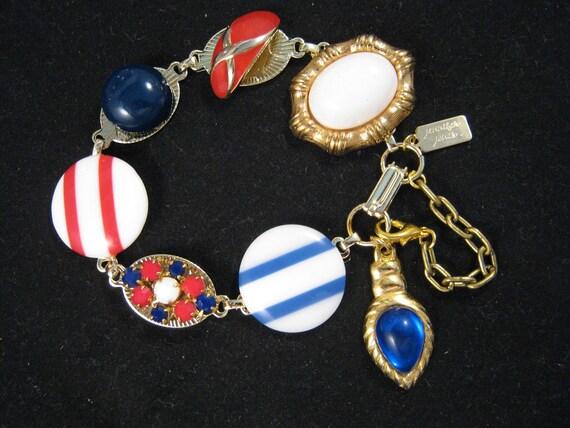 Reclaimed Vintage Bracelet, Vintage Earring Bracelet, Bridesmaid Gift, Under 40, Red, White and Blue Charm Bracelet - Stars n Stripes