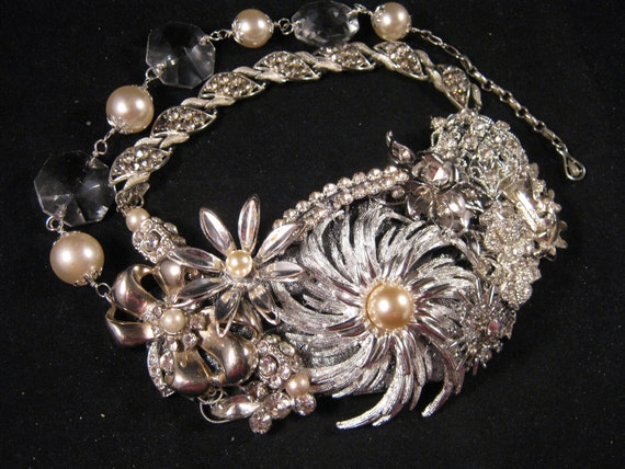 Statement Necklace, Bridal Necklace, Upcycled, Vintage Brooch, Silver, Wedding Necklace, Rhinestones, Pearls, Crystal, Bib - Brilliance