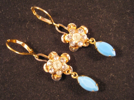 Reclaimed Vintage Earrings, Vintage Rhinestone Flowers, Blue Milk Glass Navettes, Under 25, Flower Power Earrings - Mysterious Encounter