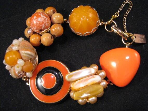 Vintage Charm Bracelet, Earring Bracelet, Bridesmaid Gift, Cluster Earrings, Orange, Upcycled, Under 40,  Bridesmaid Gift - Target Practice