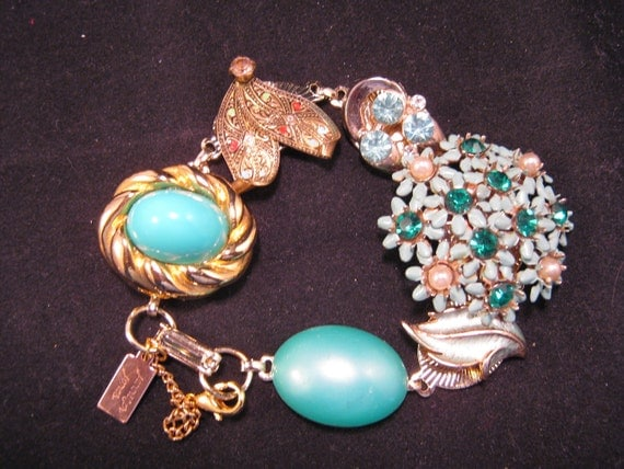 Reclaimed Vintage Bracelet, Vintage Earring Bracelet, Bridesmaid Gift - Turquoise  Garden