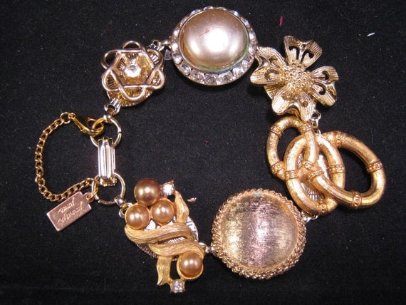 Reclaimed Vintage Bracelet, Wedding Bracelet, Vintage Earring Bracelet, Bridesmaid Gift - Royal Wedding
