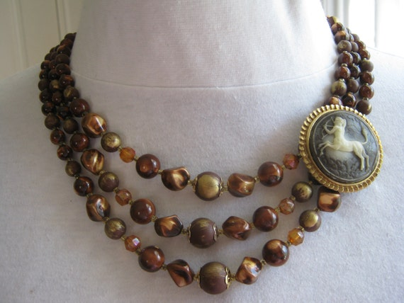 Reclaimed Vintage Necklace, Gift Idea, Statement Necklace, Vintage Necklace, Asymmetric Assemblage, Layered Necklace - Fantasy