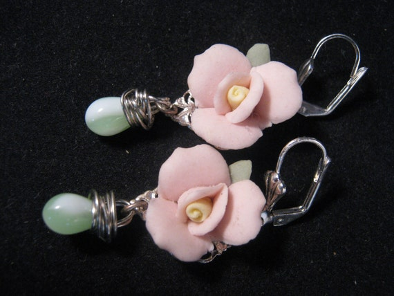 Reclaimed Vintage Earrings, Bridesmaid Gift, Statement Earrings, Pink China Roses - Candy Roses