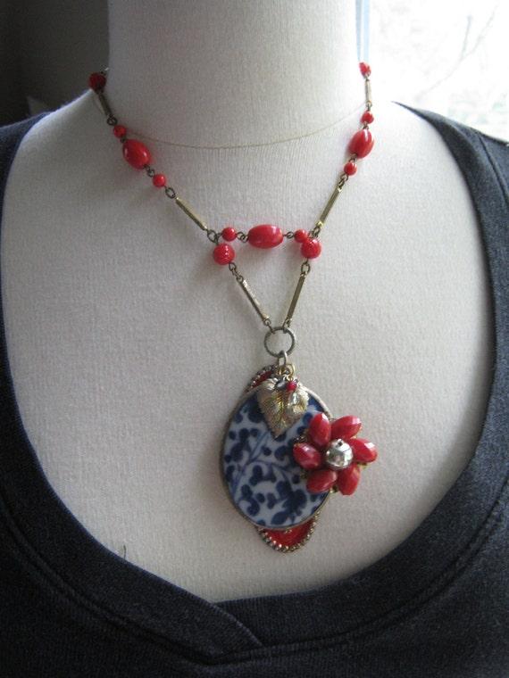 Vintage Necklace, Statement Necklace, Reclaimed Vintage Necklace, Vintage Cluster Earring Assemblage - Memories