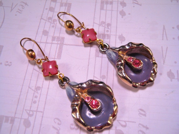 Reclaimed Vintage Earrings, Bridesmaid Gift, Statement Earrings, Vintage Enamel Flowers, Pink Glass, Purple - Calla Lilies