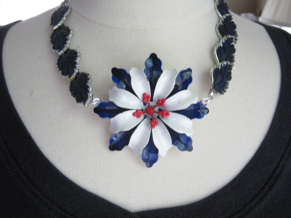 Vintage Necklace, Statement Necklace, Enamel Flower, Thermoset Necklace, Silver, Blue, White - Navy Blues