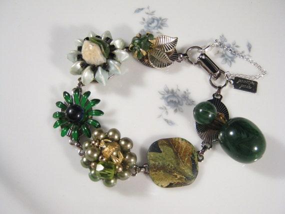 Reclaimed Vintage Bracelet, Bridesmaid Gift, Vintage Earring Bracelet, Cluster Earrings -  Olive