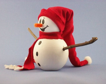 Wooden Snowman Decoration with Floppy Red Hat and Scarf
