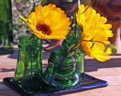 recycled green glass multi neck bud vase from bottles