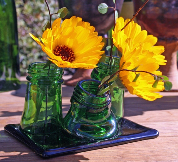 recycled green glass multi neck bud vase from bottles