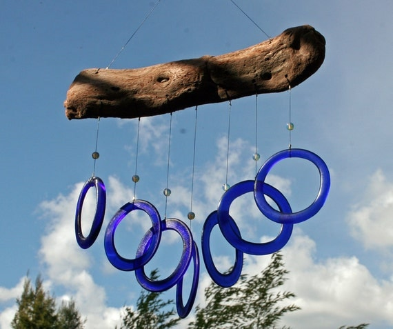 reserved for Allison -2 driftwood windchimes with recycled glass rings, one with blue glass & one with green