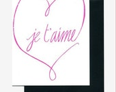 Je T'aime Note Card
