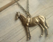 Saddler Horse Necklace    Vintage Equestrian Charm on Thick Bronze Chain