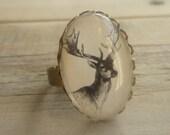 Vintage Stag Head Ring ... Antique Deer Heritage