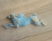 Baby Blue Rabbit Brooch     Hare Brooch with Vintage Fifties Pastel Patina