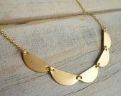 Geometric Scallop Necklace... Vintage Brass Gold Lace Collar Pendant