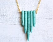Turquoise Chevron Necklace ... Southwestern Tribal Indie Geometric Gemstone