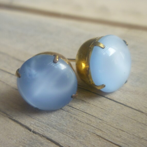 Chunky Vintage Moonstone Blue Earrings in Antique Brass Setting