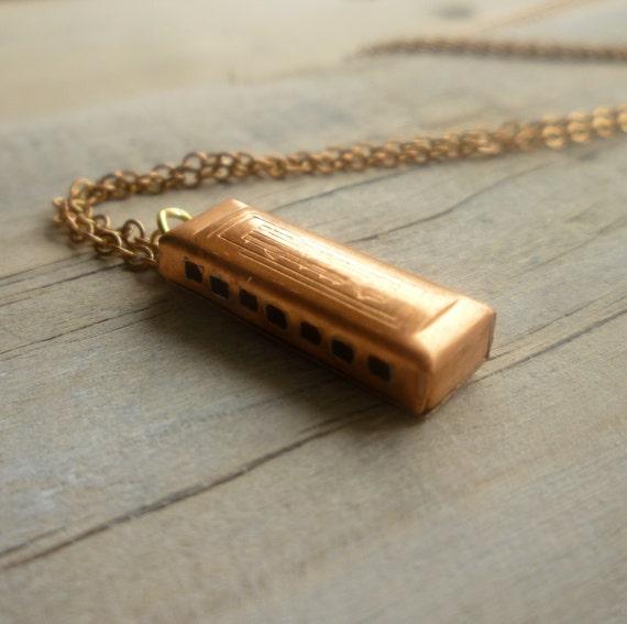 Vintage Harmonica Necklace ... Dainty Copper Folk Pendant