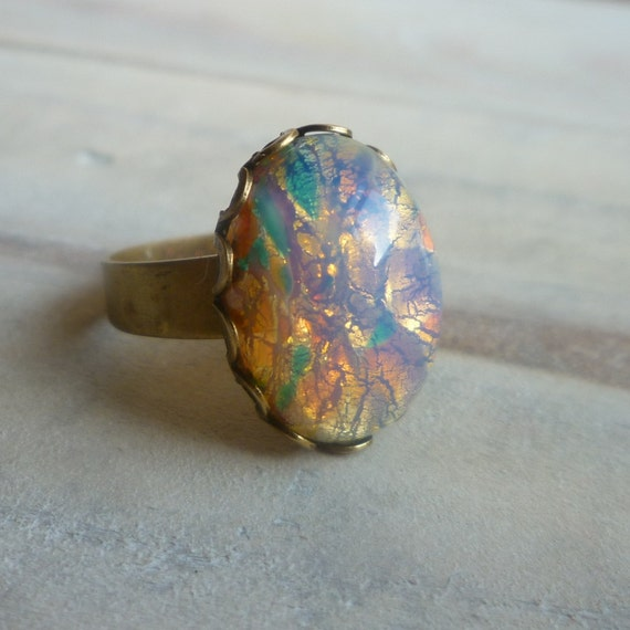 Vintage Pink Opal Ring ... Firestone Pink and Gold Ring with Milky Glass