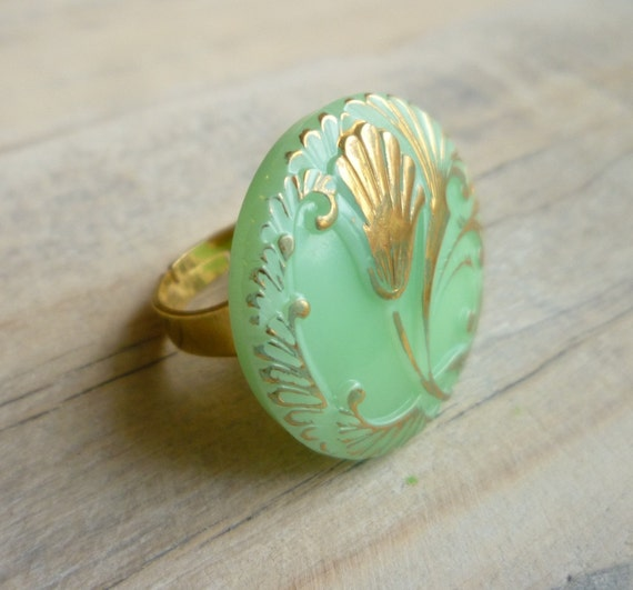Green Art Nouveau Cocktail Ring ... Vintage Glass Lily on Milky Mint Handpainted