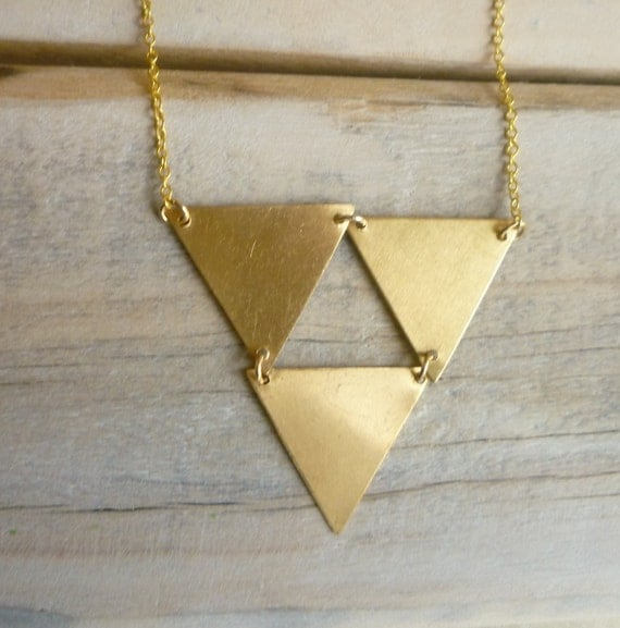 Triangle Geometric Necklace ... Vintage Brass Triangles in a Pyramid