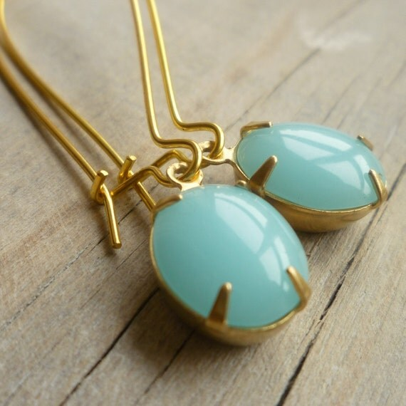 Seafoam Earrings ... Vintage Turquoise Opal Earrings in Robin Egg Blue