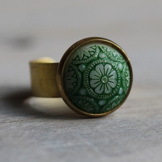 Green Moroccan Mosaic Ring .. Milk White Glass with Spring Green