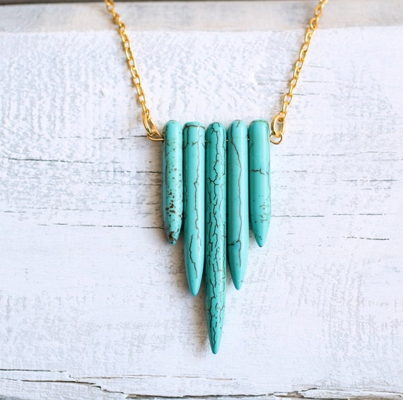 Turquoise Chevron Necklace ... Southwestern Tribal Indie Geometric Gemstone