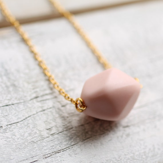 Peach Pink Necklace .. Geometric Nugget Pebble in Nude Pink