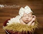 Newborn headband, baby headband, adult headband, photo prop The single sprinkled- Victorian lace bow- stretch headband