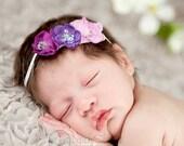 Baby headband, newborn headband, adult headband, child headband and photography prop The triple sprinkled- Sparkle flowers headband