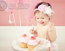 Baby, infant, toddler. teen, adult, Newborn Photo Prop The single sprinkled- Chiffon feather Rose flower pink headband