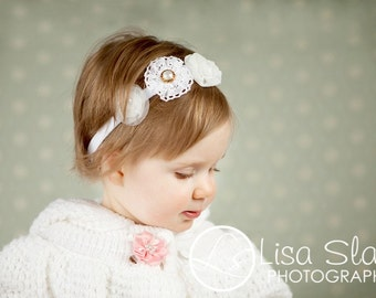Baby headband, newborn headband, adult headband, child headband and photography prop The triple sprinkled- Charlea headband