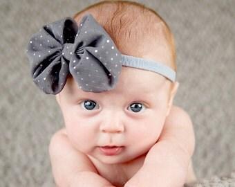Newborn headband, baby headband, adult headband, photo prop The singlesprinkled- BIG Chiffon bow- stretch headband