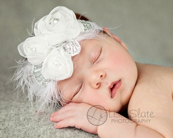 Baby headband, newborn headband, adult headband, child headband and photography prop The triple sprinkled- WHITE Chiffon Rosie headband