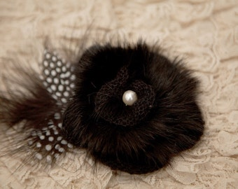 Baby headband, newborn headband, adult headband, child headband and photography prop The single sprinkled Rabbit fur flower headband
