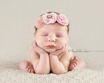 The triple sprinkled- Charlea- stretch headband flower Baby headband, infant, toddler, teen, adult, Newborn Photo Prop